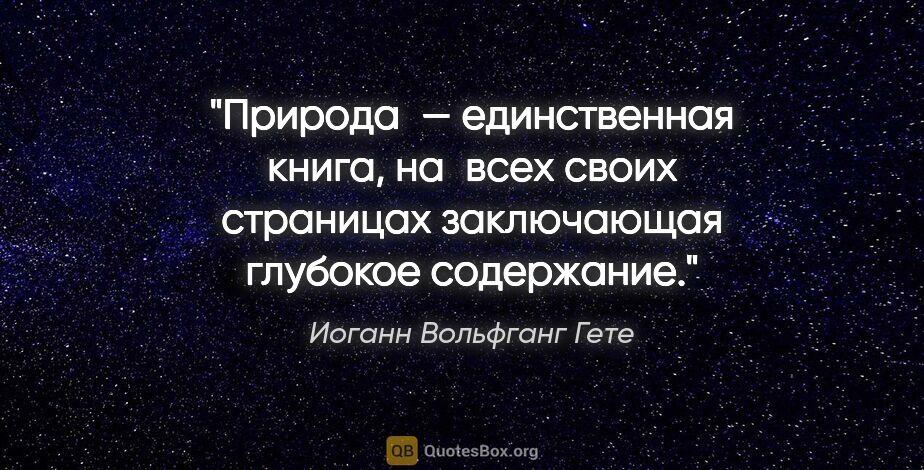 """Иоганн Вольфганг Гете цитата: """"Природа— единственная книга, навсех своих страницах..."""""""