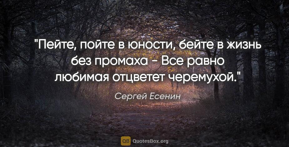 """Сергей Есенин цитата: """"Пейте, пойте вюности, бейте вжизнь без промаха -  Все равно..."""""""