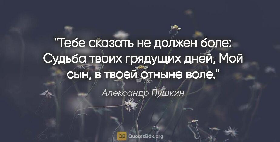 """Александр Пушкин цитата: """"Тебе сказать не должен боле:  Судьба твоих грядущих дней,  Мой..."""""""